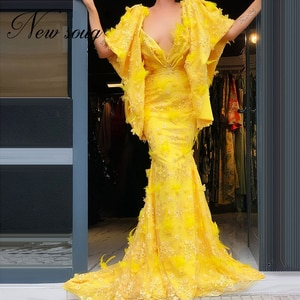 Yellow Embroidery Formal Evening Dresses Mermaid 2021 Turkish Kaftans V Neck Party Prom Dress Women Arabic Dubai Celebrity Gowns