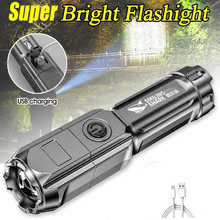 Led High-power Flashlight Ultra Bright USB Rechargeable Torch T6 Zoom Highlight Outdoor camping Lighting Flashlight Waterproof