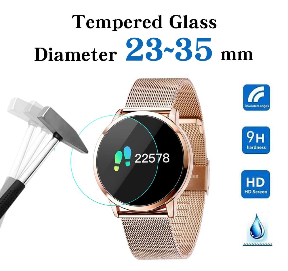Full Size Ronde Horloges Gehard Glas Screen Protector Film Diameter 23 24 25 26 27 28 29 30 31 32 33 34 35 Mm Voor Slimme Horloge