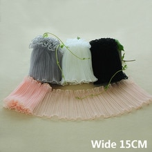 15CM de large Tulle de luxe doux maille tissu plissé dentelle Appliques col élastique à volants garniture bricolage femmes robe jupes fournitures de couture