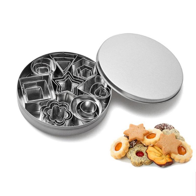 24 Uds. Herramientas de cocina de acero inoxidable Mini cortador de galletas Set molde para galleta y biscocho cortadores de pastelería navideños rebanadores herramientas para hornear