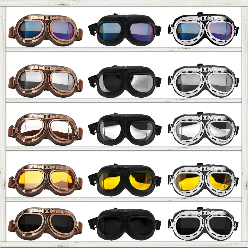 Motorcycle Glasses Retro Helmet Pilot Goggles Motorbike 100% UV400 Vintage Classic Glasses For Moto Scooter ATV Dirt Biker motorcycle atv riding scooter driving flying protective frame clear lens portable vintage helmet goggles glasses for 2009 buell xb12r