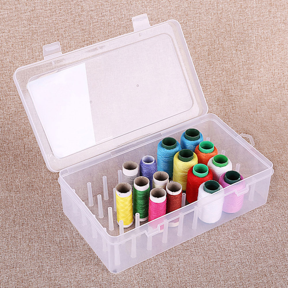 aliexpress.com - Large Thread Box Empty Transparent Storage Container Sewing Thread Holder Sewing 42 Spools Reels Sorting Boxes Organizer Dropshi