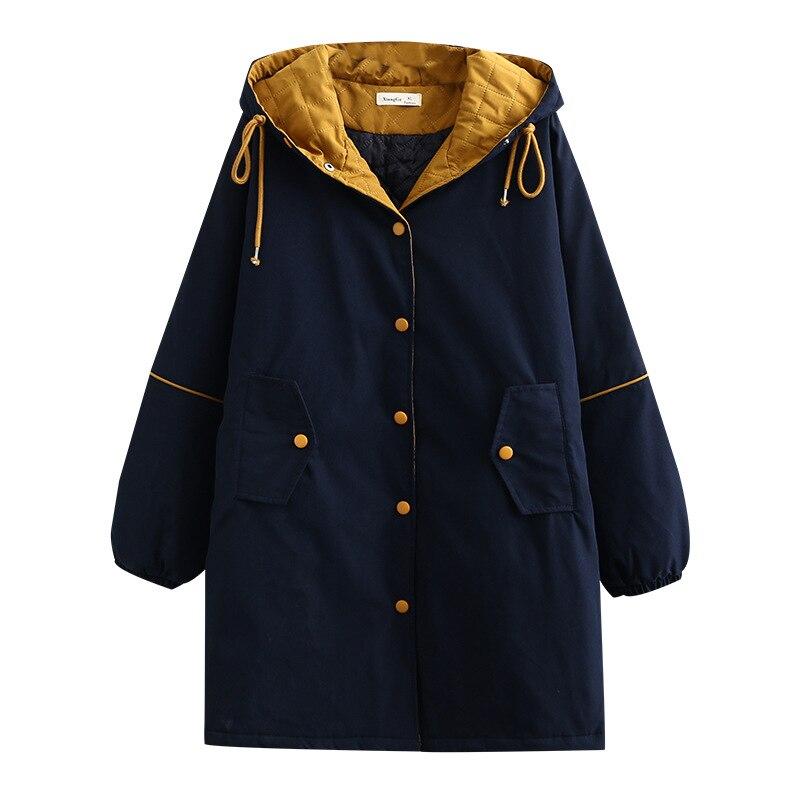 Zima pikowane płaszcze kobieta Bat rękaw z kapturem płaszcz damski pojedyncze łuszcz luźna kurtka Oversize 2020 nowy
