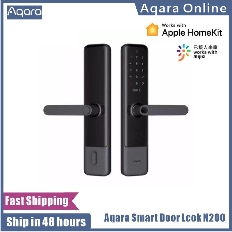 Promo Aqara N200 Smart Door Lock Fingerprint Password  Bluetooth NFC Unlock Smart Linkage With Doorbell Works With Mijia Apple HomeKit