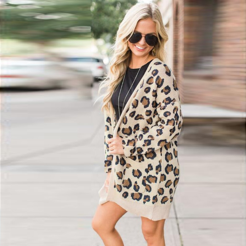 Cárdigan de leopardo largo de manga larga de mujer suéteres de otoño invierno moda 2019 abrigo largo de mujer