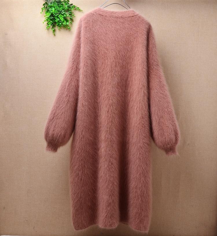 Elegant casual winter long loose brown thicken mink cashmere long lantern sleeves angora rabbit fur cardigan sweater coat wrap enlarge