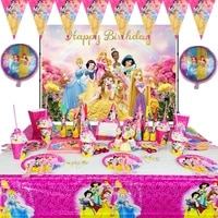 disney cinderella snow white princess theme paper plate cup banner party decoration party supplies disposable cutlery set
