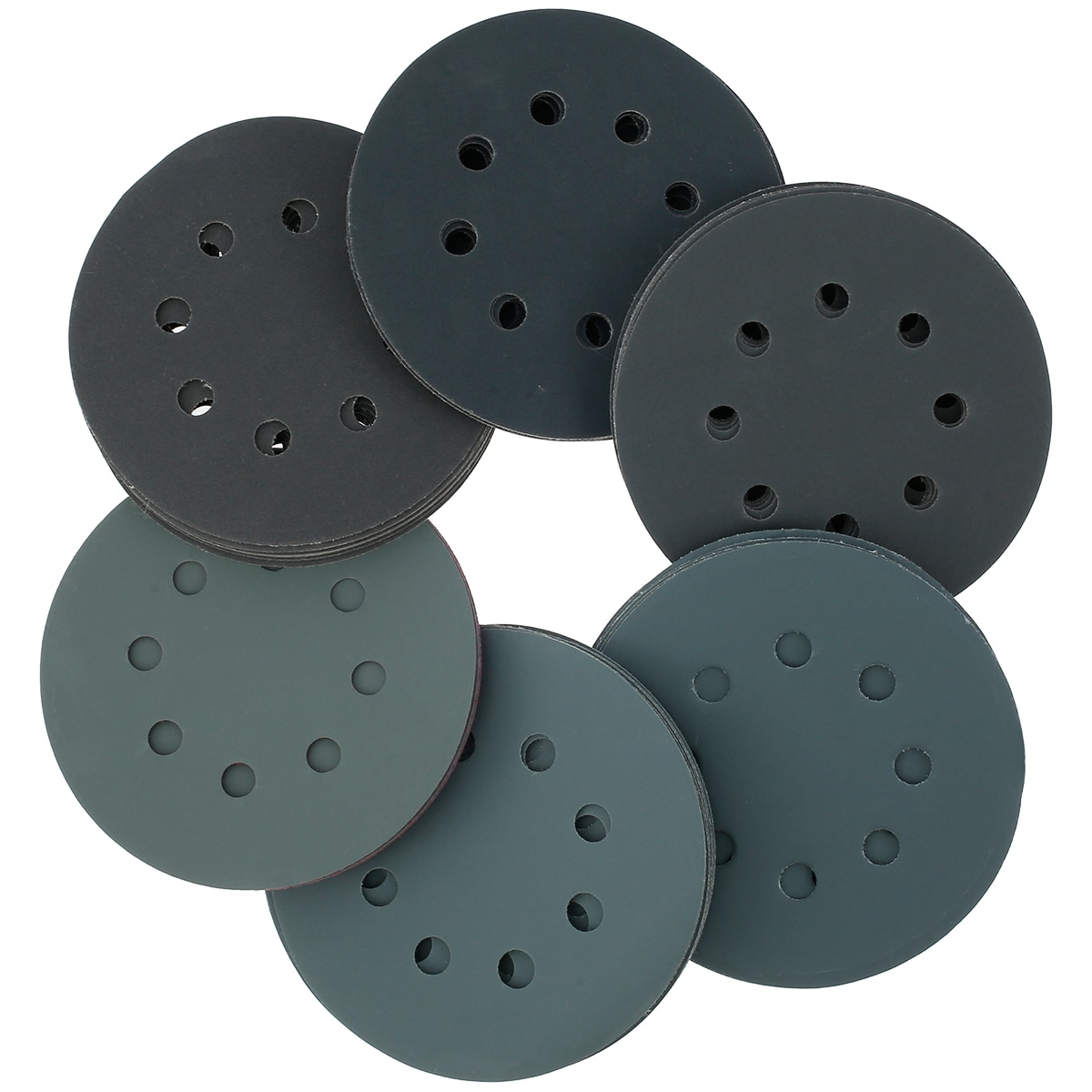 60pcs 5 Inch Sanding Disc Pad 8 Hole Surface Conditioning Disc Sandpaper Pad for Die Grinder Strip Polish Burr Finish Rust Paint