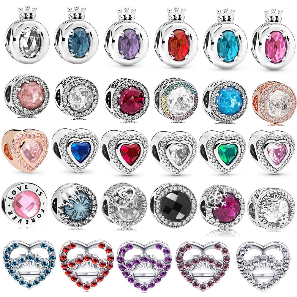 Fashion Pink Blue Green Crystal Radiant Round Charm Beads Suitable for Original Pandora Bracelet Ladies DIY Jewelry Making Gifts