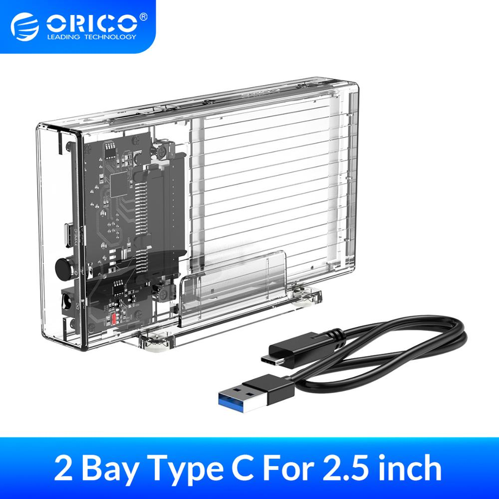 ORICO 2 Bay 2.5'' HDD Case SATA to USB3.1 Type-C 6Gbps Transparent Hard Drive Housing HDD Enclosure for SSD Box With 5V Adapter