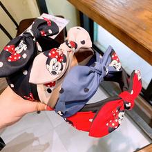 Disney Women Headband Baby Minnie Mouse Hair Accessories For Girls Children Kids Fashion Diadema Elastic Hair Bands Bows Gift