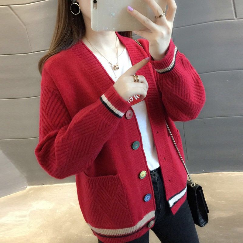 2021 Spring New Loose Knitted Cardigan Female Student Korean Wind Pocket Sweater Coat Female V Neck Long Sleeve Exterior  - buy with discount