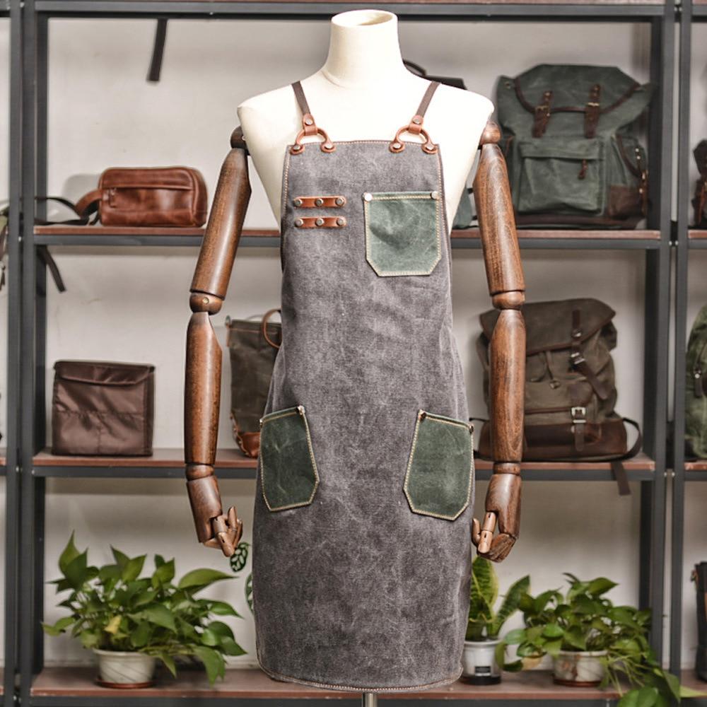 New work apron coffee shop retro apron high-end restaurant artisan overalls canvas apron