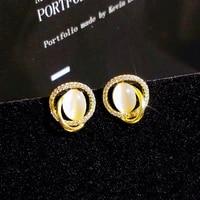 vintage classic 14k real gold geometry opal earrings for women temperament jewelry s925 silver needle shiny aaa zircon gift hot