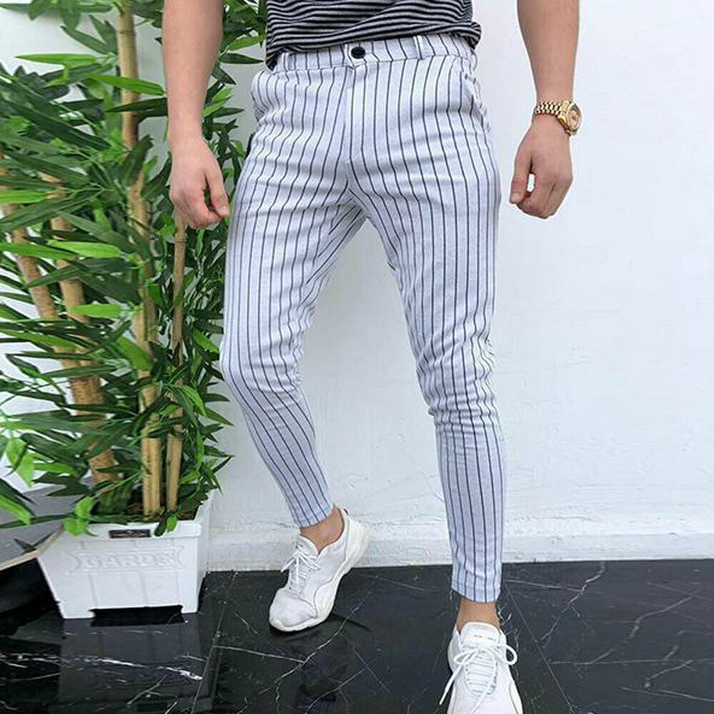 Fashion Men's Slim Fit Stripe Business Formal Pants Casual Office Skinny Long Straight Joggers Sweat