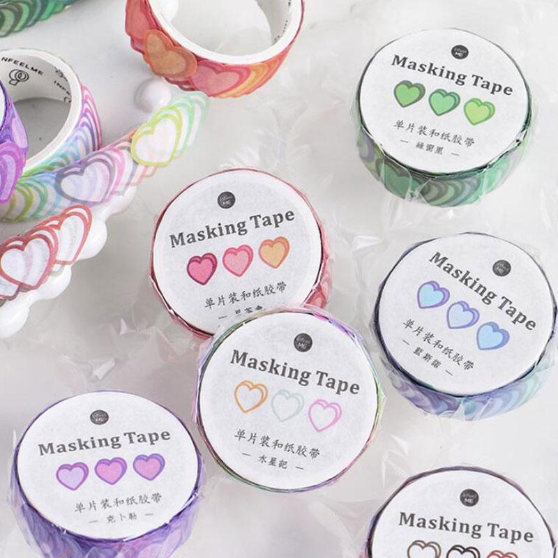 100 pces/rolo amor coração forma fita washi fita adesiva decorativa diy scrapbooking etiqueta fita adesiva