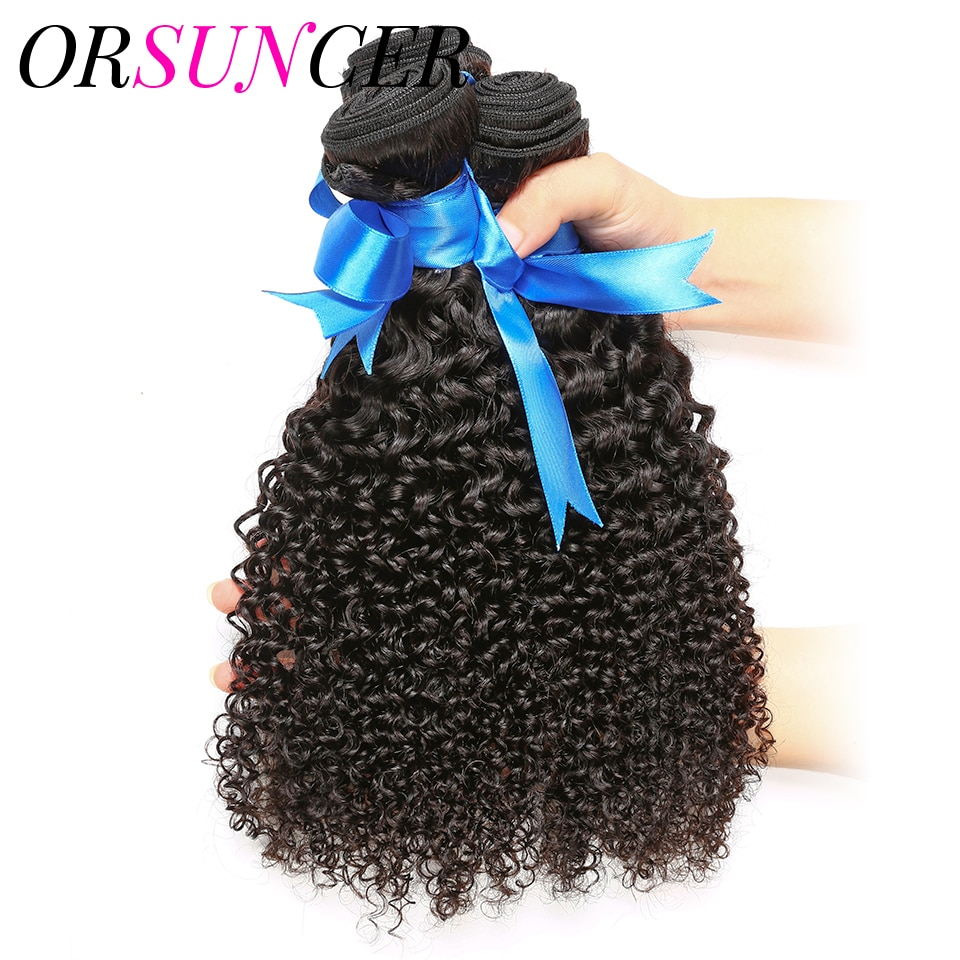 ORSUNCER Brazilian Afro Kinky Curly Hair Weave Bundles Remy Human Hair Weaving Natural Color High Ratio 10-30inch Free Shipping