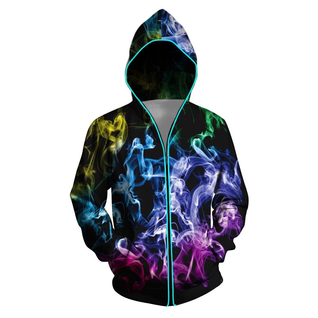 Chaqueta iluminada para hombre, chaqueta para club, capa colorida brillante para hombre, chaqueta con capucha con cremallera luminosa colorida Led # g3