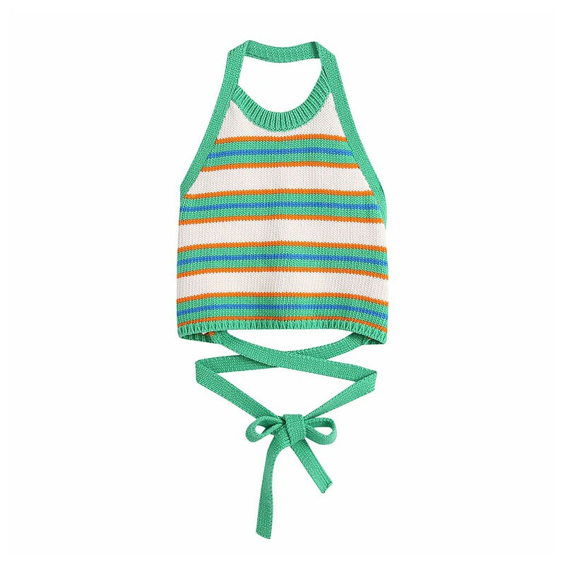 knitted checked tank top DOUJILI Women Sleeveless Backless Stripe Pattern Top Tees Knitted Tank Top Summer Sexy Female Tops