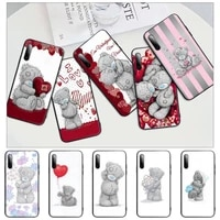 lovely teddy bear black silicone phone case cover for xiaomi mi 6 a2 8 10 lite 9 se 9t pro a1 note 10 lite