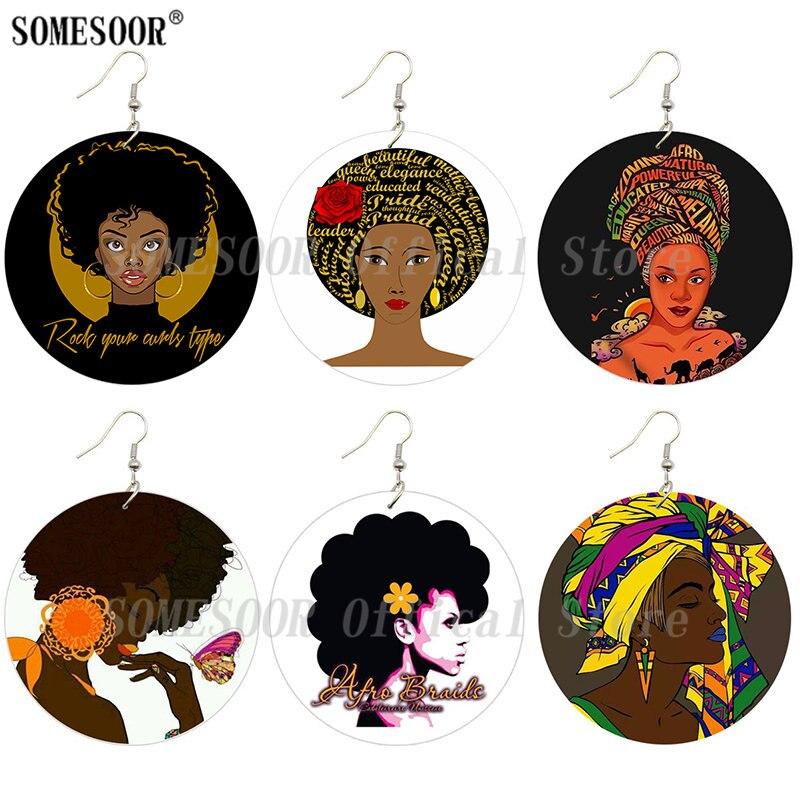 SOMESOOR African Beauty Melanin Queen Printed Wooden Drop Earrings Rock Girl Afro Natural Hair Designs Big Wood Loops For Women