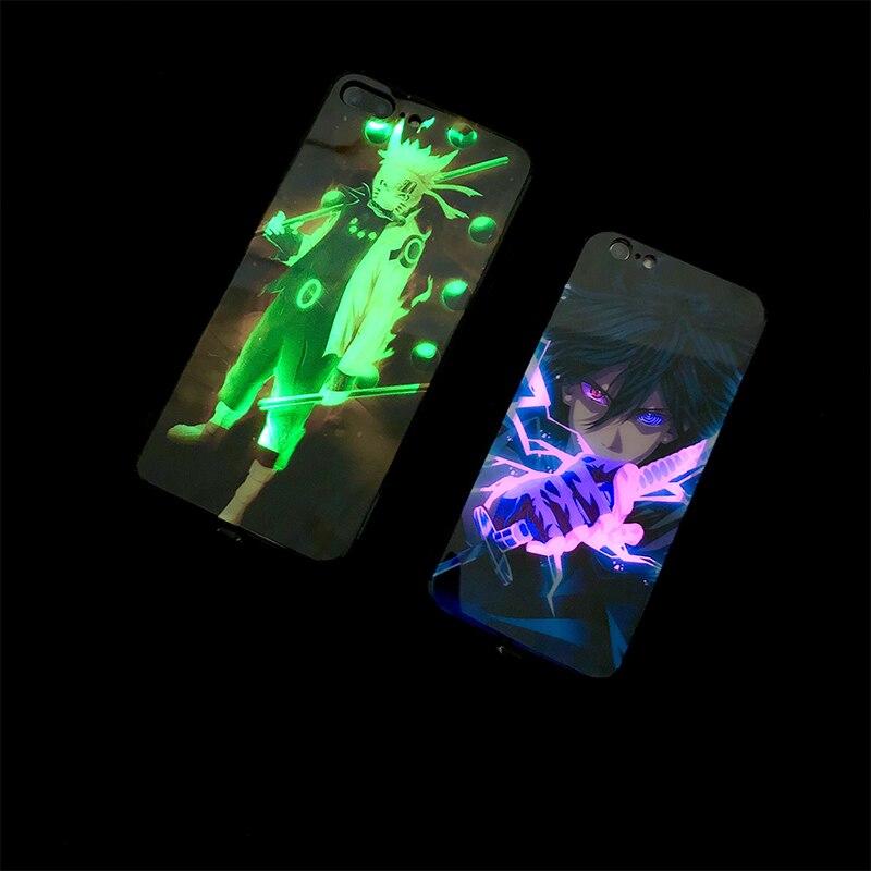 Наруто Саске звонок светильник Светодиодная Вспышка телефонные чехлы для iPhone XS Max XR X 10 6s 7 8 Plus голосовой Звук Активированный чехол закаленное стекло