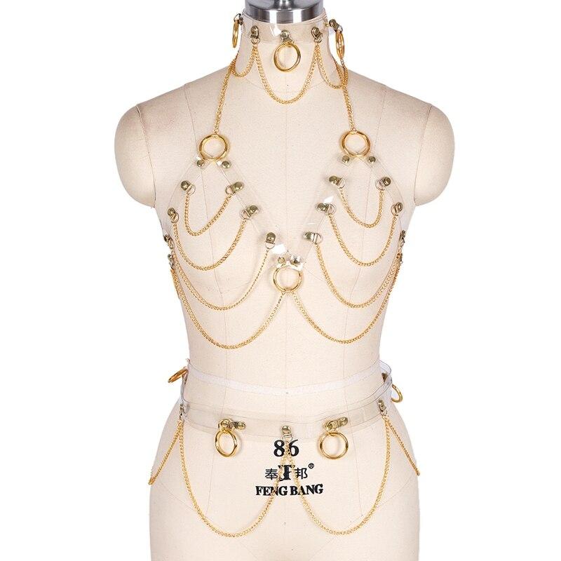 الجلود الرباط حزام سلسلة الصدرية كامل الجسم للنساء القوطية تسخير مجموعة الملابس الداخلية عبودية طوق الرقبة الوثن مثير سلسلة تنورة