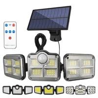 3 heads remote control solar lights outdoor waterproof 171 cob 138 led wall lamp garden garage motion sensor lights