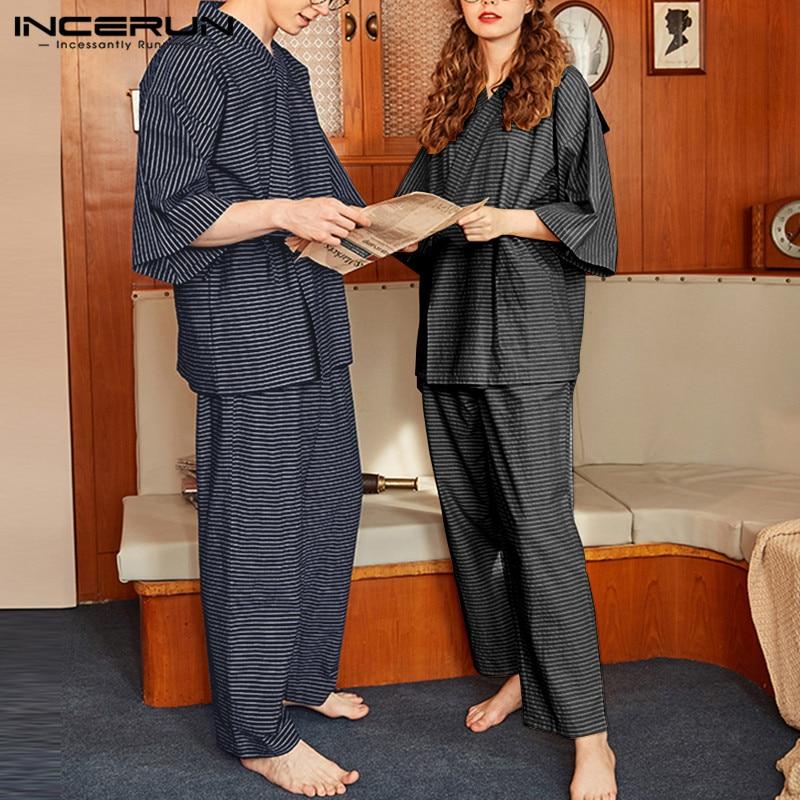 INCERUN rayas conjuntos de pijama para hombre casuales Retro media manga Kimono japonés de larga pantalones sueltos Unisex set de ropa para casa S-5XL