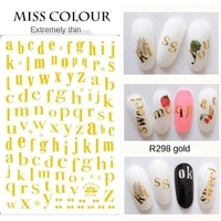 beautiful gold and silver english alphabet nail stickers 3d bronzing simple temperament nail sticker tool