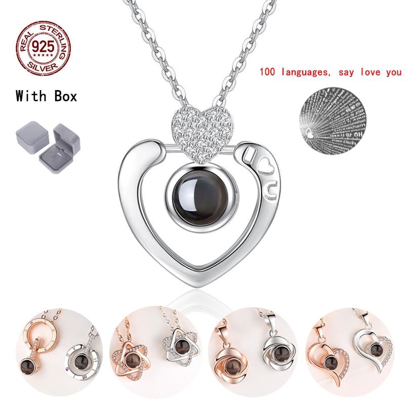 Collar con colgante de corazón para mujer, gargantilla de cristal, Plata de Ley 925 100, idioma I Love You Wife, regalo, joyería, regalo de San Valentín