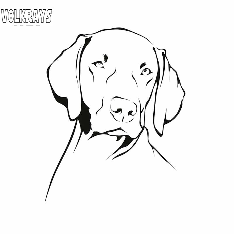 Volkrays Cartoon Car Sticker Weimaraner Dog Animals Pets Accessories Reflective Sunscreen Vinyl Decal Black/Silver,15cm*12cm