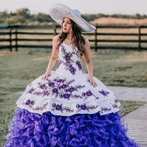 Bealegantom White Purple Princess Ball Gown Quinceanera Dresses 2021 Embroidery Beads Puffy Sweet 16 Dress Pageant Gown QA1642