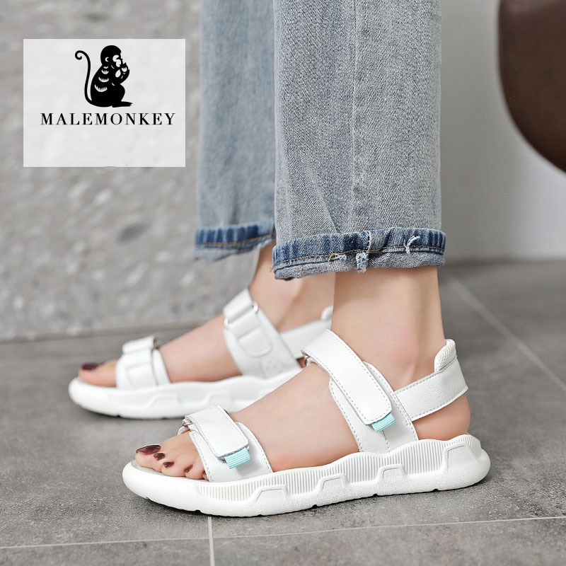 White Sport Sandals Women Summer 2021 Outdoor Beach  Lightweight Breathable Open Toed Ladies Sandals Casual Flat New Black