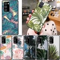 summer palm leaf phone case for samsung note 8 9 10 20 case for note10pro 10lite 20ultra m20 m31 funda case