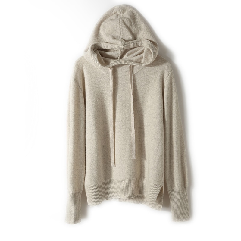 2021 woman winter 100% Cashmere sweaters knitted Pullovers jumper Warm Female Hooded blouse blue long sleeve clothing enlarge