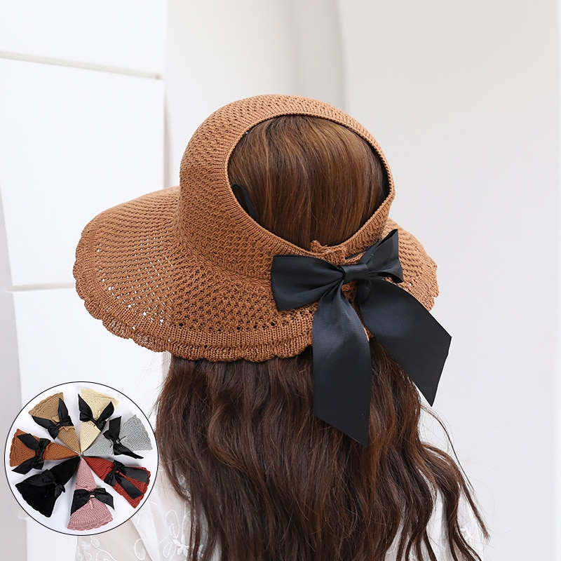 Korean version of the new knitted hollow top bowknot foldable female sunscreen sun hat