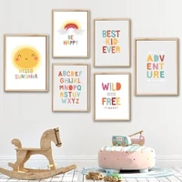 sun rainbow cloud arrow alphabet quote wall art canvas painting nordic posters and prints wall pictures kids room nursery decor