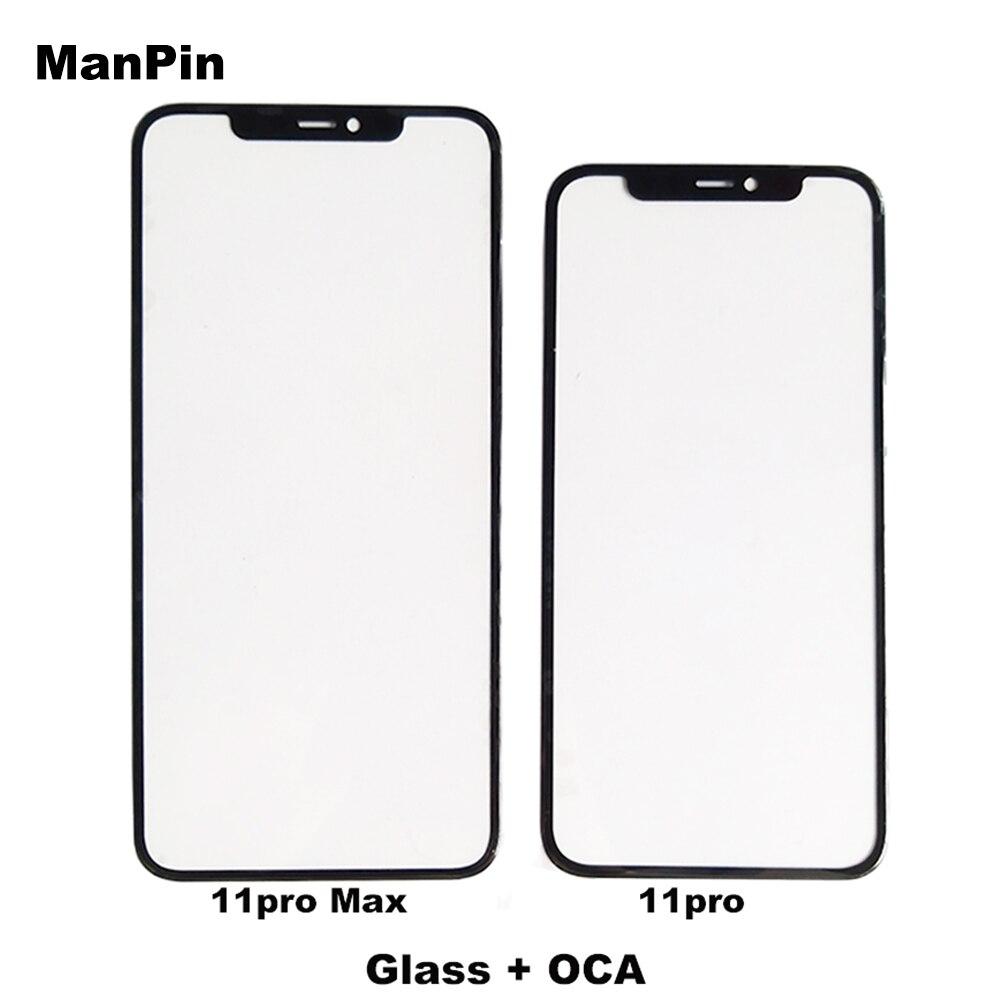 Vidrio de teléfono móvil con película OCA para iPhone 11Pro MAX 11Pro 11 LCD pantalla táctil Panel frontal lente reparación repuestos
