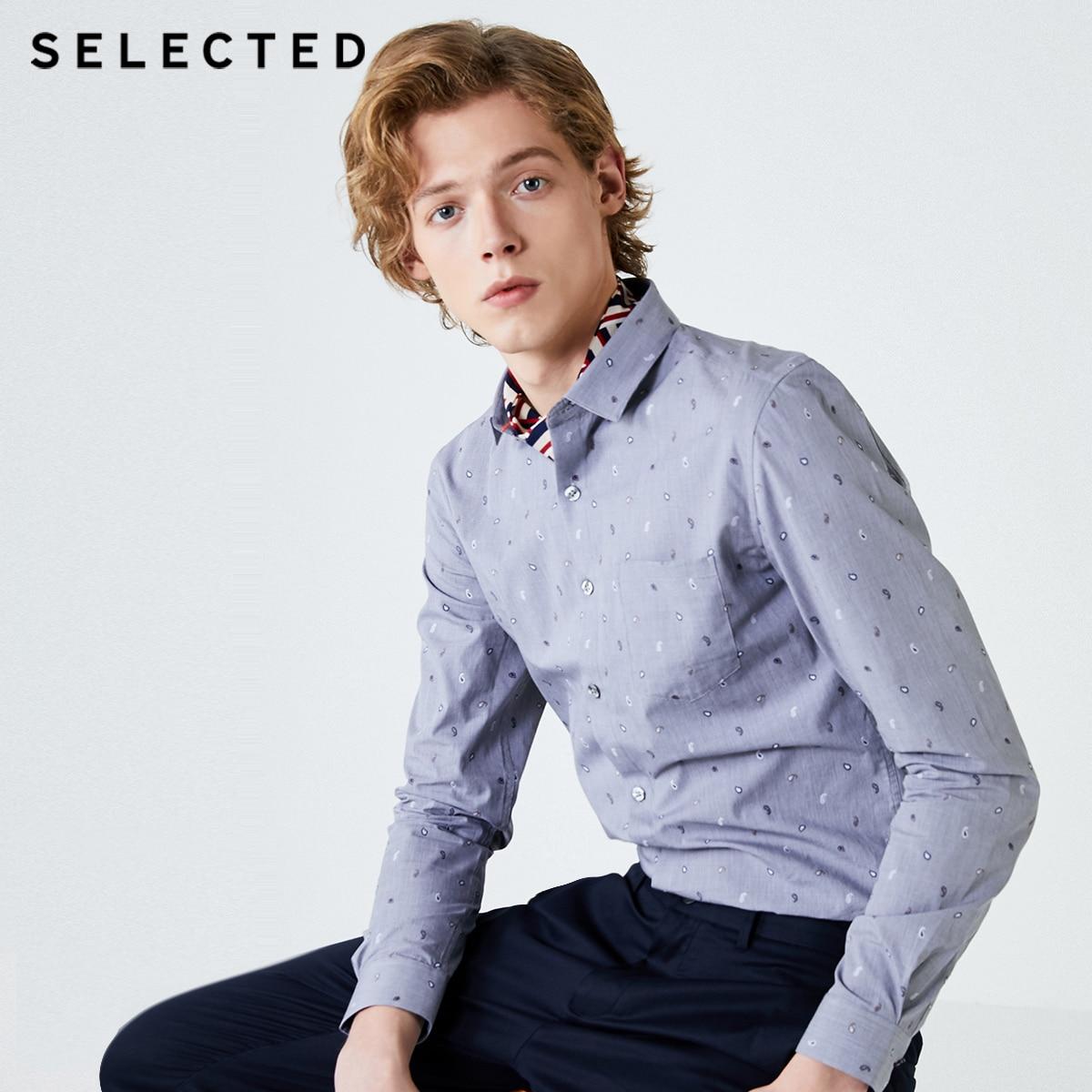 Camisa de manga larga bordada ajustada de algodón 100% para hombres seleccionados S   419305525