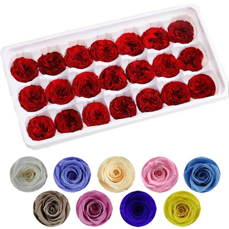 21 قطعة/صندوق أزهار محفوظة الوردة الطبيعية الخالدة 2-3 سنتيمتر لتقوم بها بنفسك رومانسية الزفاف عيد ميلاد عيد الحب عيد الأم هدية لمستواها B