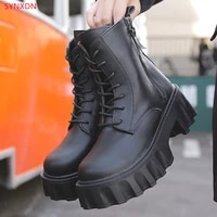synxdn matte leather thick bottom zip women ankle boots punk platform botas cross tied riding motorcycle female shoes 2021 new