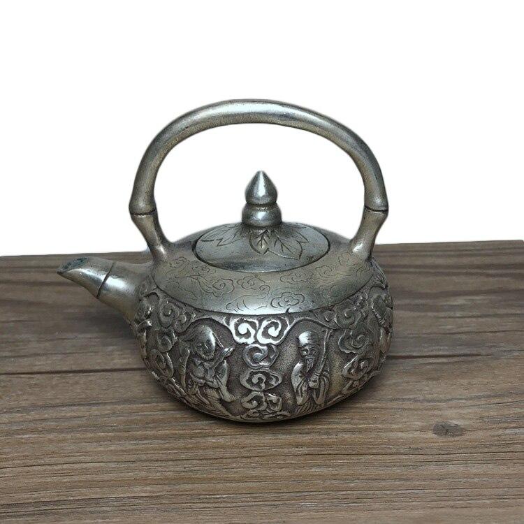 LAOJUNLU Imitation Antique Eight Immortals Pot Brass Silver Plated Copper Pot Kettle Teapot Jug