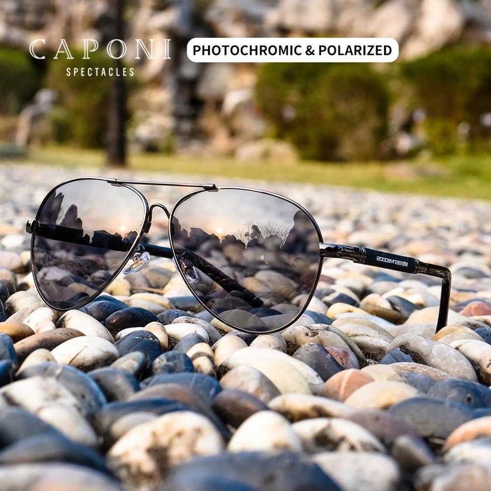 CAPONI Pilot 2020 gafas de sol fotocromáticas para hombre, UV Cut, gafas de sol para conducir, polarizadas, gafas de sol para hombre BS9812