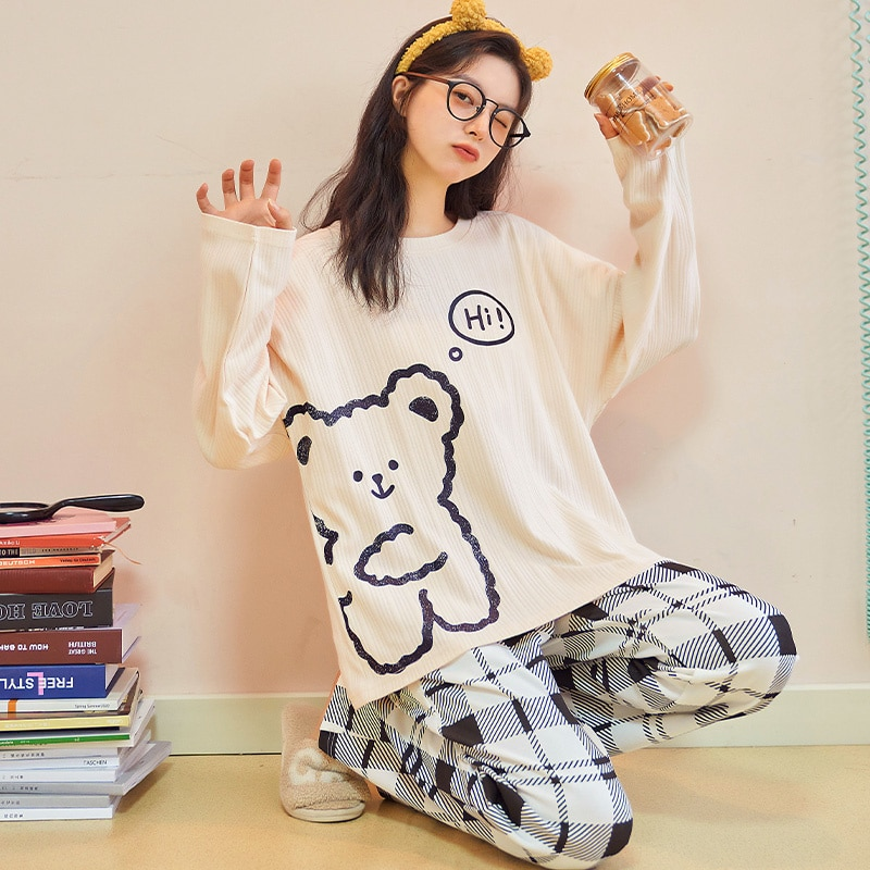 2021 New Pajamas Women's Spring and Autumn Long Sleeve Thin Pure Cotton Sweet and Lovely Bear Summer