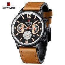 Reward Genuine Leather Men Watches Business Waterproof Wristwatches Anti-Glare Chronograph Date Lumi