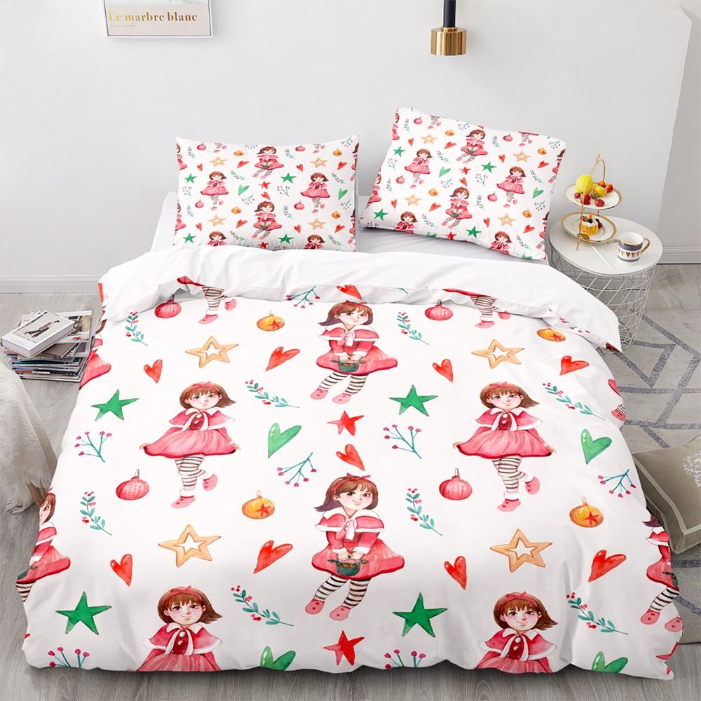 الكرتون فتاة نمط طقم سرير ، 180 × 210 مجموعة غطاء لحاف مع المخدة ، 245 × 210 غطاء لحاف ، أبيض اضافية كبيرة غطاء بطانية