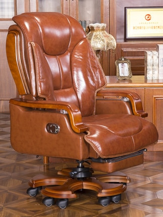 computer chair can lie lifting boss chair leather swivel chair Real leather boss chair can lie down office chair, household massage chair, solid wood swivel chair, computer chair