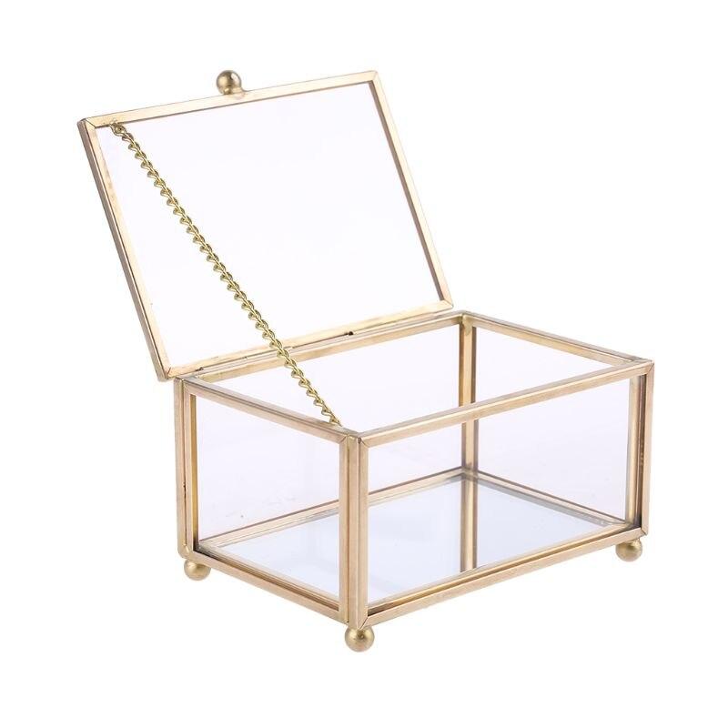Caja de anillo de boda rústica, vidrio transparente geométrico, soporte para exhibición de Joyas